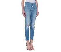 Destroyed Straight-Leg Jeans  // Cropped Worker Indigo
