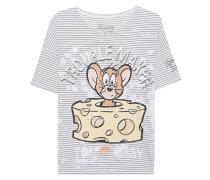 Gestreiftes T-Shirt mit Print  // Cheese Blue Nights