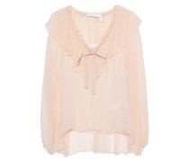 Seidenbluse mit Schleifendetail  // Honey Bow Nude