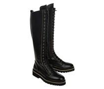 Leder-Boots mit Schnürung und Zipper-Details