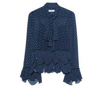 Gemusterte Schluppenbluse mit Volants  // Ruffles and Bow Dark Navy