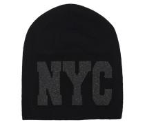 Kaschmir-Mütze mit Swarovski-Elementen  // Damian NYC Black