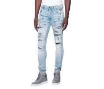 Destroyed Slim-Fit Jeans mit Farbspritzern  // Crystal Indigo