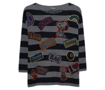 Gestreifter Kaschmir-Mix-Pullover mit Patches  // Patches Stripe Grey