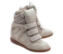 Wedge-Sneakers aus Leder  // Over Basket Bekett Ecru