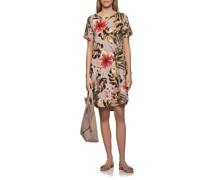 Leinen-Kleid mit Palmenblätter-Motiven
