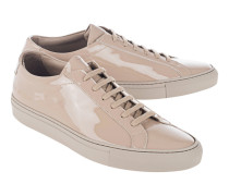 Flache Lackleder-Sneakers  // Achilles Low Gloss Taupe