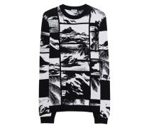 Gemusterter Baumwoll-Pullover  // Beach Black White