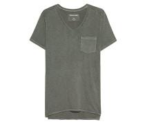 Meliertes Baumwoll-T-Shirt  // Chestpocket Dusty Olive