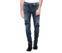 Slim-Fit Jeans im Destroyed-Finish  // MX1 Leather  Blue