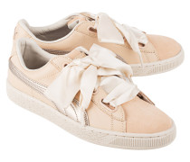 Flache Sneaker aus Leder  // Basket Heart Up Natural