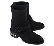 Veloursleder-Boots mit Fell-Futter  // Pearl Shearling Black