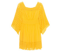 Baumwoll-Mini-Kleid  // Hole Embroidery Yellow