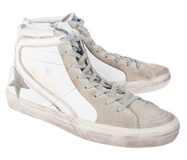 High-Top Sneaker aus Leder  // Slide White