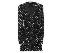 Seiden-Kleid mit Polka Dots und Drapierungen