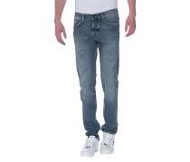 Destroyed Relaxed-Skinny-Jeans  // New Rocco Comfort Cobalt Blue