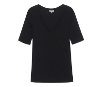 One and One 3/4 Sleeve V-Neck Black