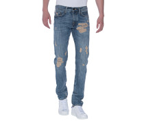 Destroyed Relaxed-Skinny-Jeans  // New Rocco Rustic Blue Red Selvage