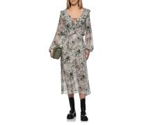 Gemustertes Volants-Kleid mit Binde-Detail
