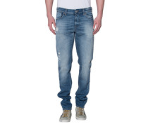 Washed-Out Slim-Fit Jeans  // Ronnie Vintage Seal Mid Blue