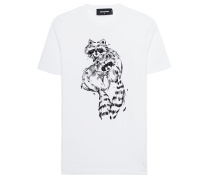 Baumwoll-T-Shirt mit Stickerei  // Racoon White