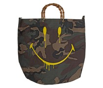 Camouflage-Tasche mit Holz-Henkel und Smiley-Print