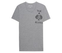 Baumwoll-T-Shirt  // Scoop Neck Chest Print Grey