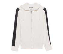 Hooded Zip Stripe White
