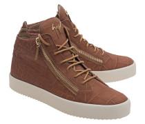 Mittelhohe Leder-Sneakers  // May London Sombry Noisette