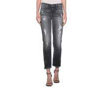 Jeans im Destroyed-Look  // Sara Ankle Zip Dark Chrome Anthracite