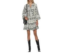 Besticktes Kleid mit Schlitz-Ausschnitt