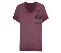 Baumwoll-T-Shirt mit Print  // Scoop Neck Chest Print Oxblood