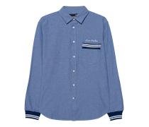 Hemd mit Ripp-Bündchen  // Denim Light Blue