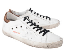 Flache Leder-Sneakers  // Superstar Roose White