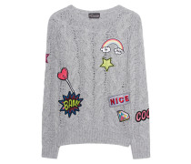 Zopfpullover mit Patches  // Cable Knit Patches White Smoke