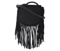 Kalbsleder-Saddle-Bag mit Fransen  // Saddle V Fringe Black