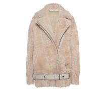 Oversize Shearling-Leder-Jacke mit Gürtel