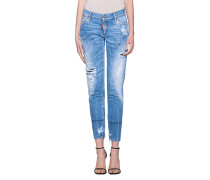 Destroyed Mid Waist Skinny Jeans
