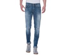 Slim-Fit Jeans mit Trashed-Details  // George Holohan
