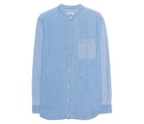 Loose Collarless Shirt Blue