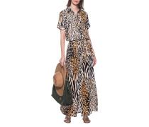 Kleid im Leo-Design mit Bindegürtel