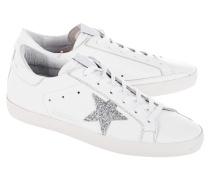 Leder-Sneakers mit Glitzer-Stern  // Superstar Crystal Edition