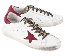 Leder-Sneakers mit Leo-Schnürung  // Superstar White Gold Leather