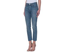 Mid-Rise Cropped Straight-Leg Jeans