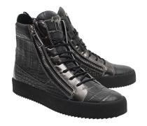 Leder-Sneakers mit Zippern  // Agata Anthracite