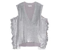 Pailletten-Bluse mit Cut-Outs  // Cut Out Pailletten Silver