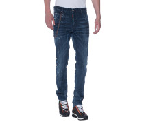 Slim-Fit Jeans im Farb-Finish mit Kette  // Cool Guy Chain Blue