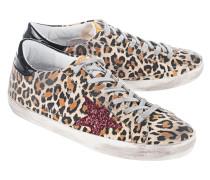 Gemusterte Veloursleder-Sneaker  // Superstar Leopard Suede/Red Glitter Star