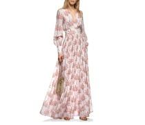 Gemustertes Seiden-Mix Kleid mit Bindegürtel
