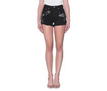 Bestickte Jeans-Shorts  // Paradise Harlets Black Oak